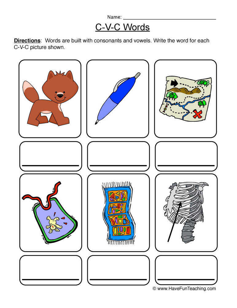 CVC Worksheet 4 – Write the Words