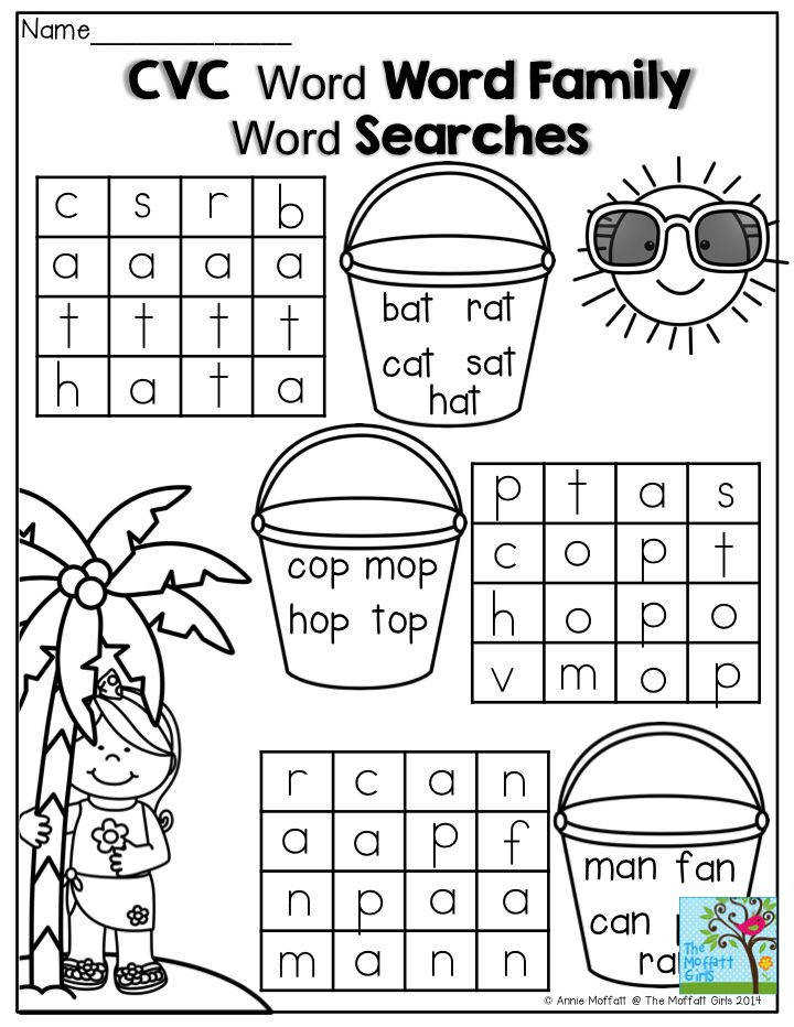 CVC Word Searches These are a great way to beginning and struggling readers excited