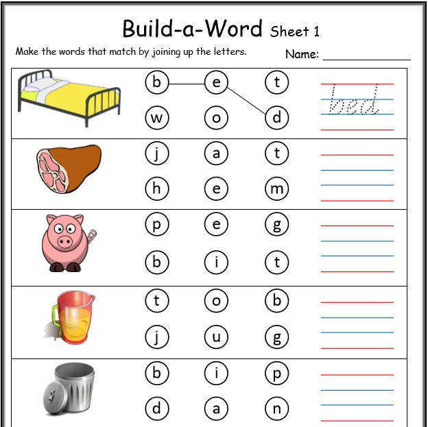 CVC build a word worksheet