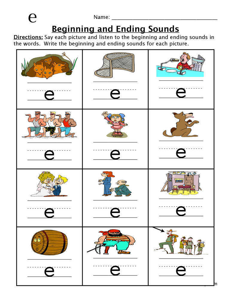 Beginning and Ending Sounds Worksheet