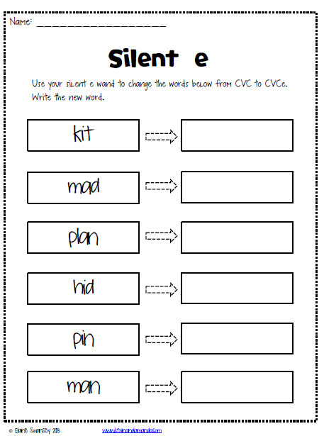 freebie worksheets Life in First Silent E Magic e Sneaky e