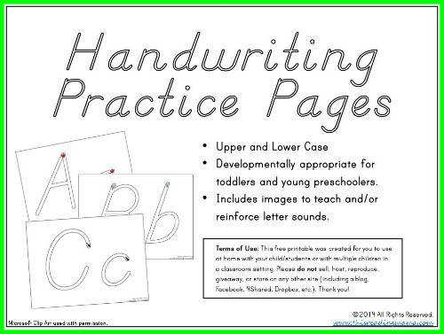 FREE D Nealian Handwriting Pages for Tots