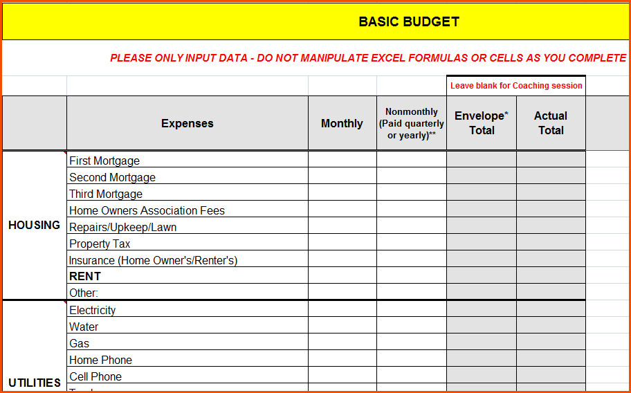 bud worksheet dave ramsey 6