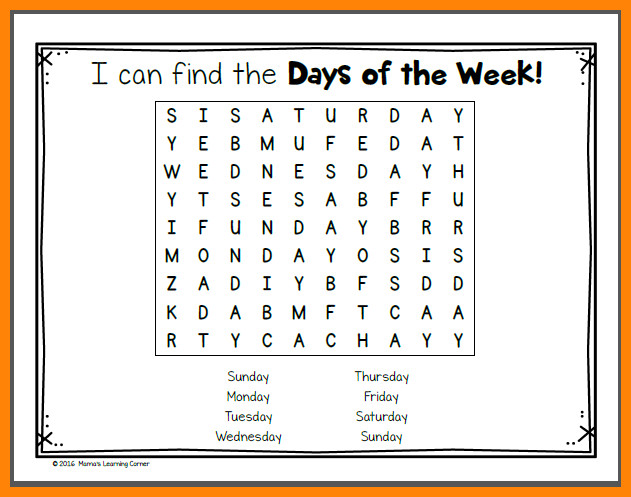 days of the week worksheets Day 2