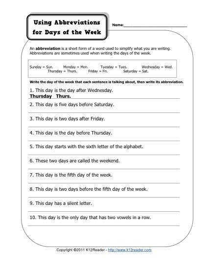 Abbreviation – Days of the Week