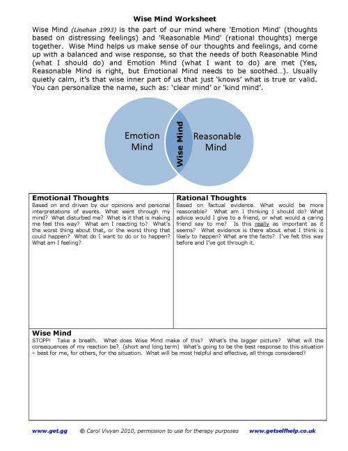 Free dialectical behavior therapy worksheets