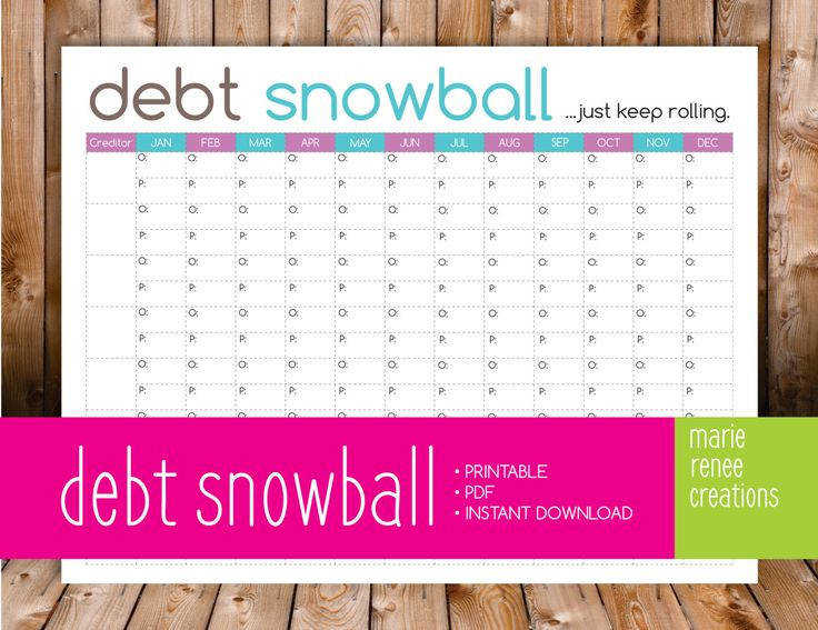 NEW Debt Snowball Worksheet Printable by MarieReneeCreations
