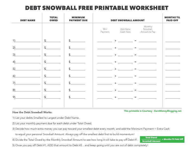 debt snowball free printable worksheet free printable debt snowball worksheet