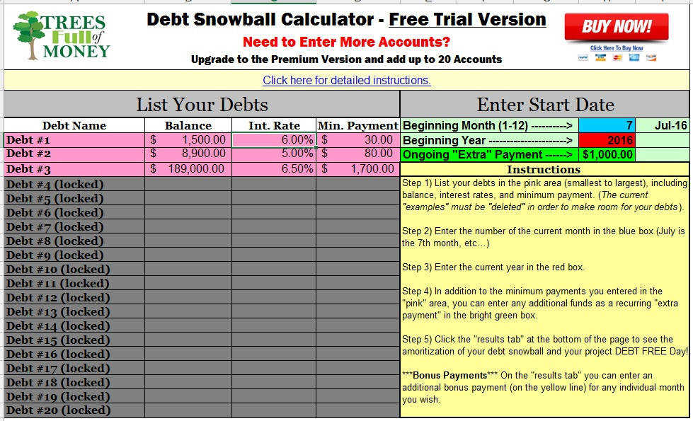 best free debt snowball calculator program excel
