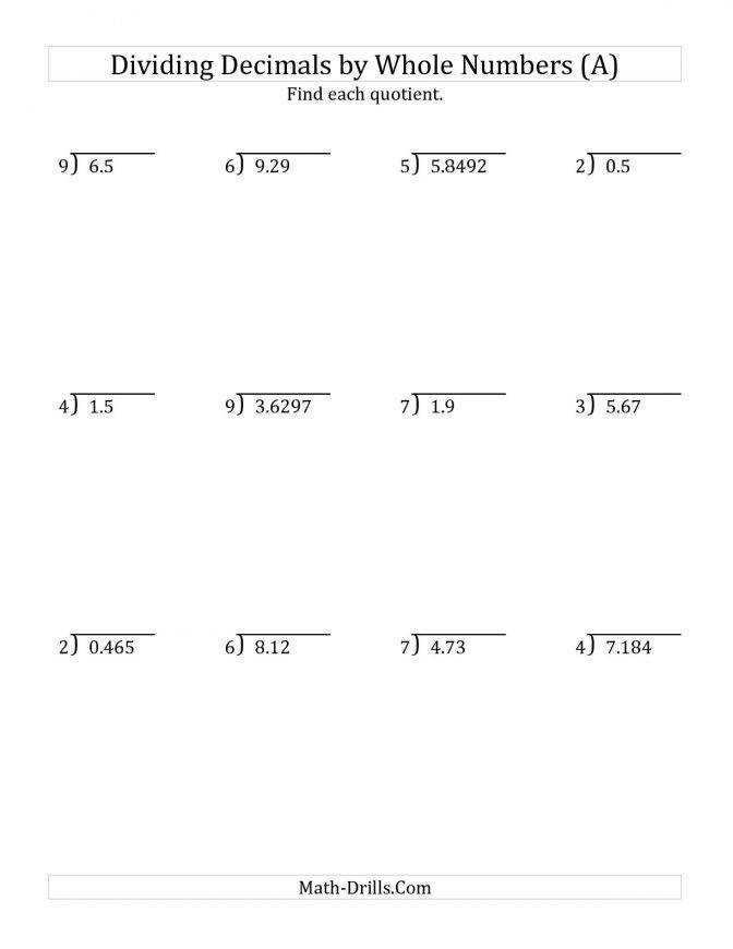 Dividing Various Decimal Places By A Whole Number Free Addition Subtraction Multiplication And Division Worksheets Decimals Division Various By Whole 00