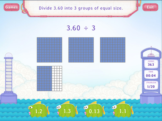 Divide decimals by a whole Worksheet