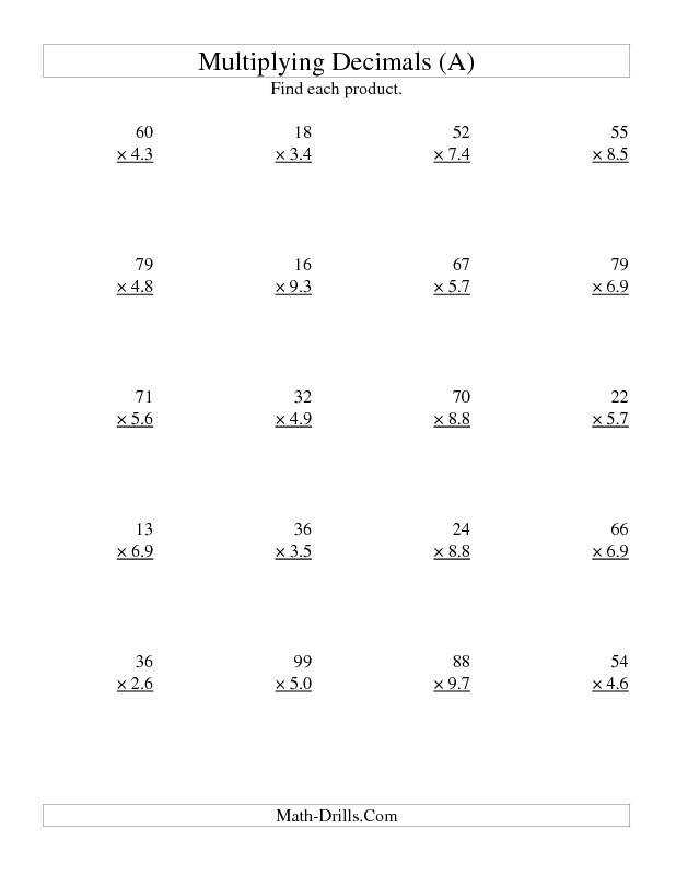 Worksheet Decimal Division Worksheets 5th Grade