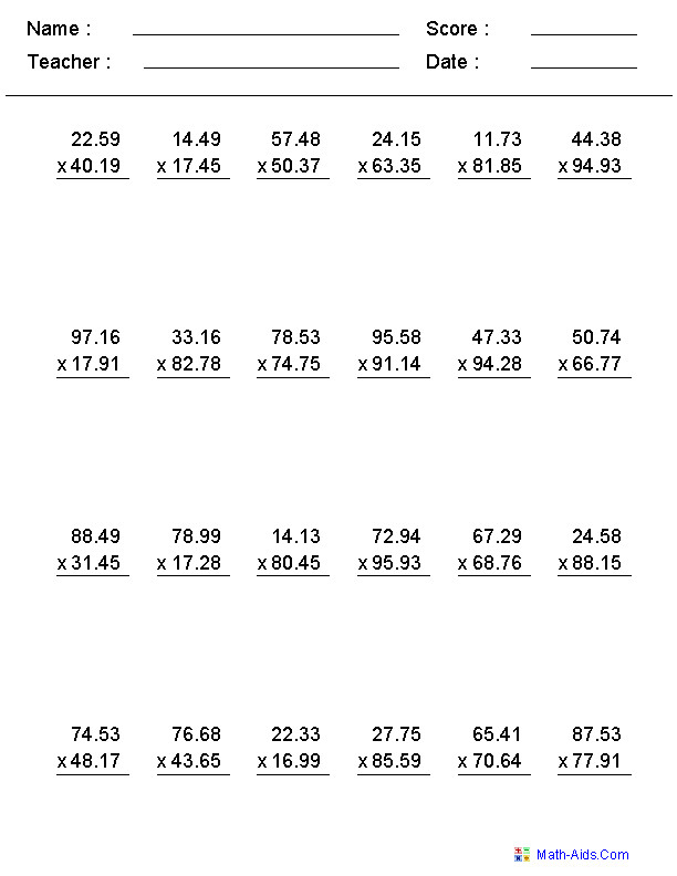 Multiplication Worksheets with Decimals