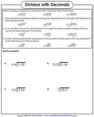Decimal Division Worksheet