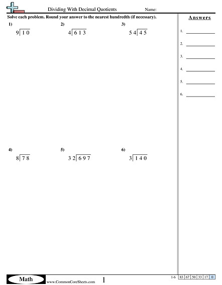 Dividing With Decimal Quotients worksheet