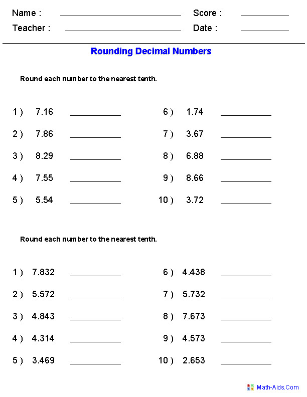 Rounding Worksheets with Decimals