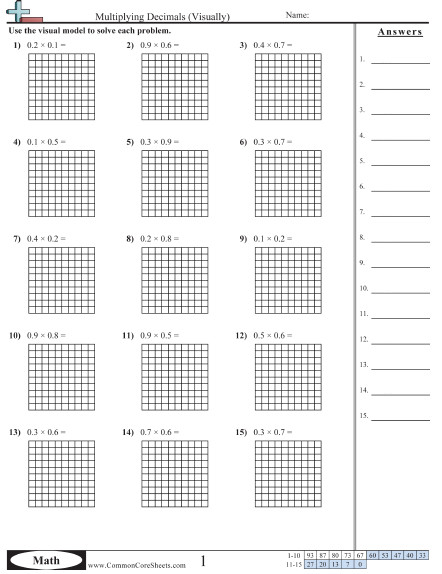 Multiplying Decimals Visually worksheet