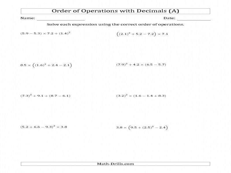 Order Operations With Positive Decimals Four Steps A