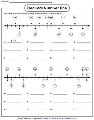 Decimal Worksheet Number Line