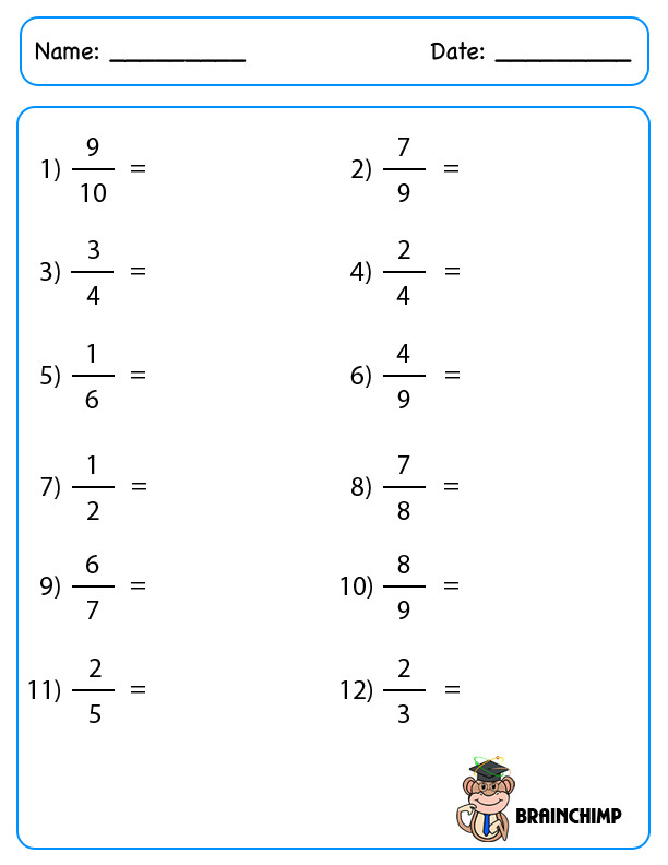 Grade 5 Fractions vs Decimals Worksheets free