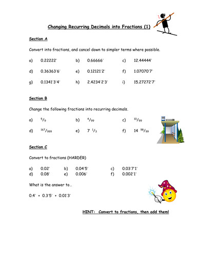 Changing Recurring Decimals into Fractions by Owen Teaching Resources Tes