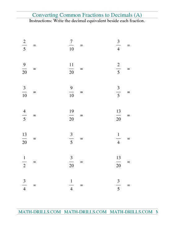 as Decimals · Converting Forms Worksheets