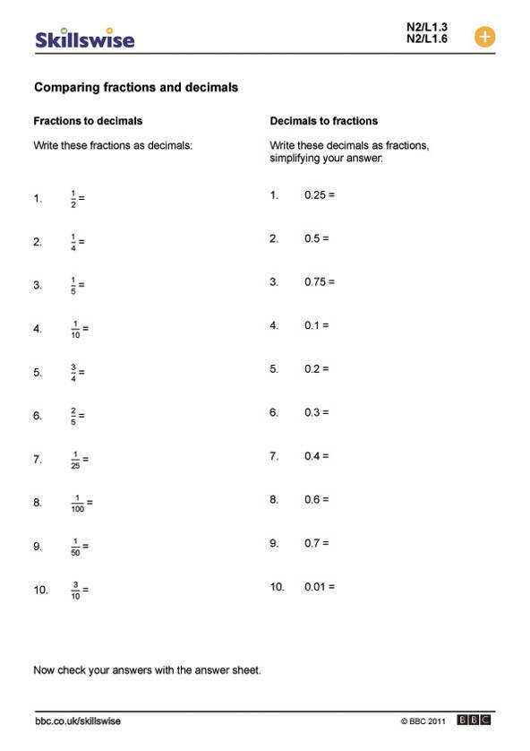 paring fractions and % worksheet preview