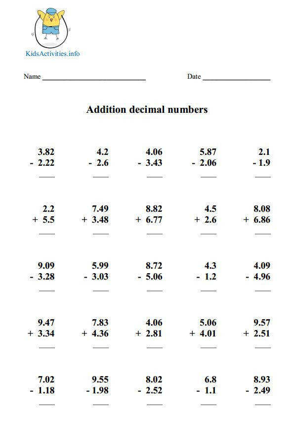 Ideas of Addition And Subtraction Decimals Worksheets About Form