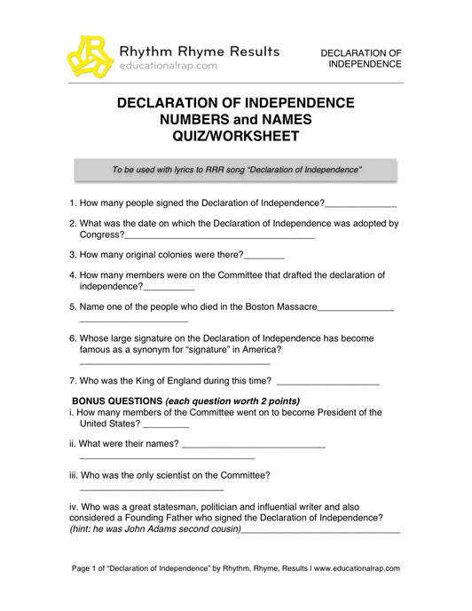 Declaration of Independence Song with Free Worksheets and Activities