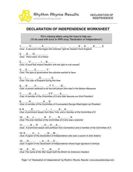July 4th Crafts and Activities EnchantedLearning · Declaration Independence Grievances Worksheet Templates