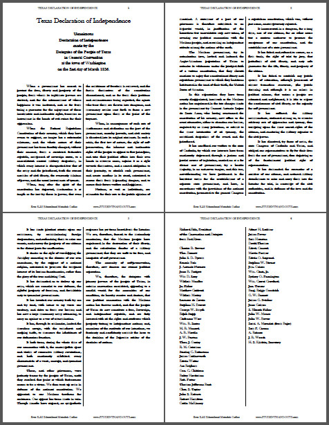 Texas Declaration of Independence March 2 1836 Free to print PDF