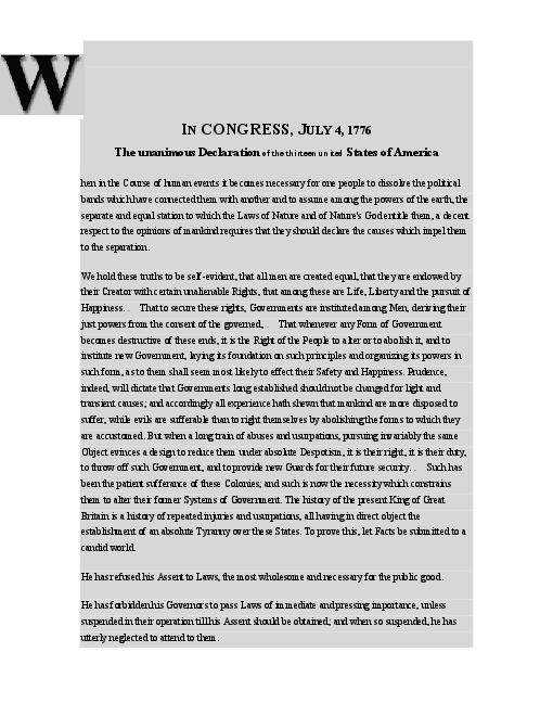 Declaration of Independence Worksheet and Document