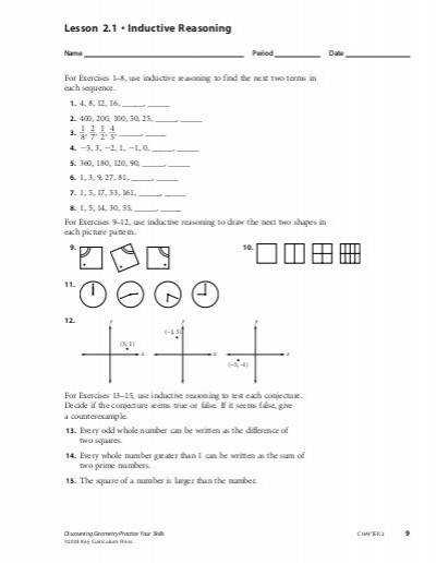 Lesson 2 1 • Inductive Reasoning