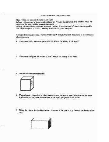 Volume and Density WORKSHEET Bvsd