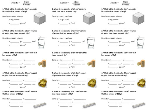 Density of solids and liquids worksheet by alexpce Teaching Resources Tes