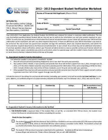 2012 2013 Dependent Student Verification Worksheet