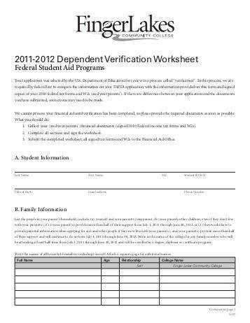 2011 2012 Dependent Verification Worksheet Finger Lakes