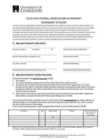 Worksheets Verification Worksheet Dependent Student v1 standard verification worksheet 2013 2014 federal dependent student