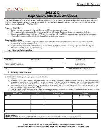 2012 2013 Dependent Verification Worksheet Valencia College