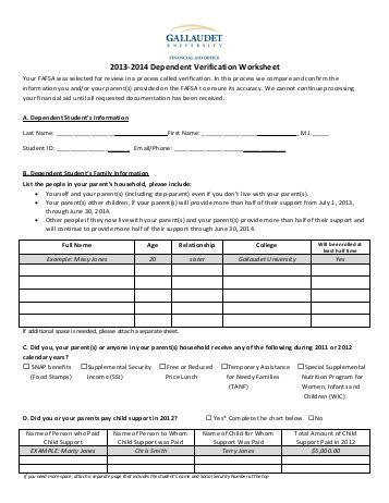 2013 2014 Dependent Verification Worksheet Gallaudet University