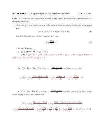 WORKSHEET An application of the indefinite integral MATH 1300