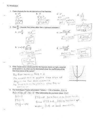 Page 1 9 2 Worksheet 1 Find a formula for the nth derivative ofthe