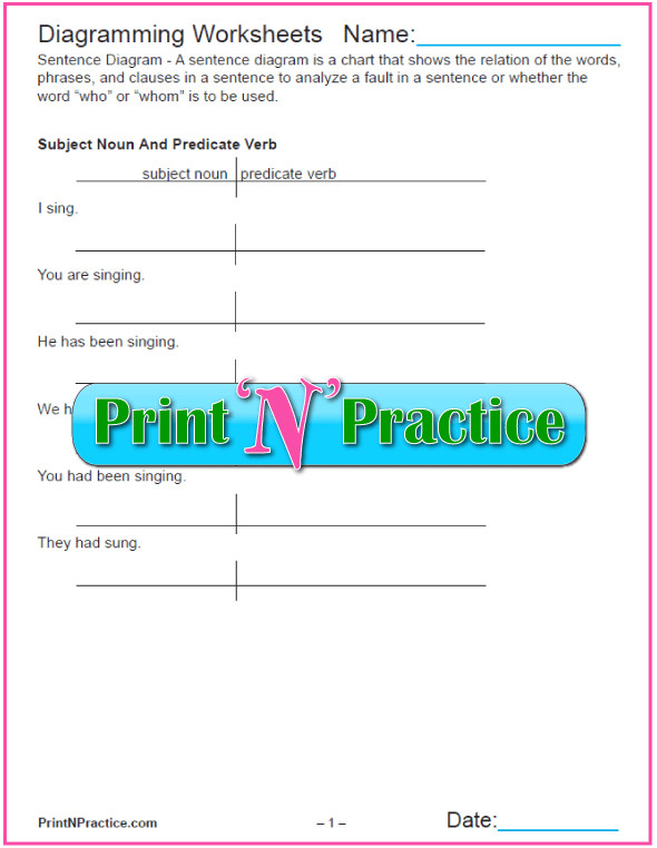 Diagramming sentences worksheet homeschooldressage diagramming sentences worksheets with answers ccuart Gallery