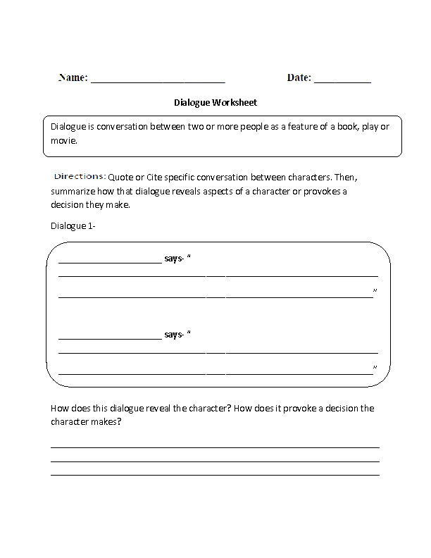 Dialogue Reading prehension Worksheets