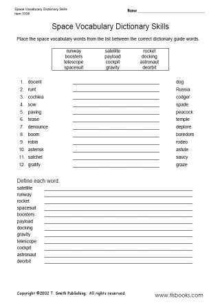 Snapshot image of Space Vocabulary Dictionary Skills worksheet