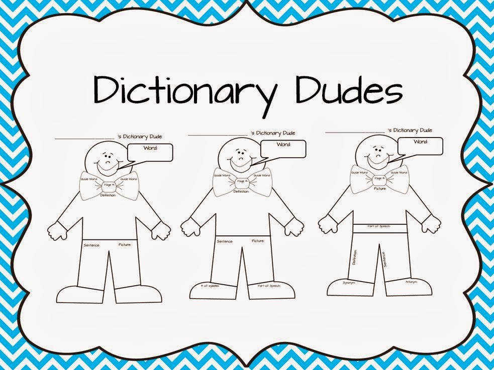 a bit time consuming for my second and third grade classes to cut out all of the pieces so I created a one page sheet and called it a Dictionary Dude