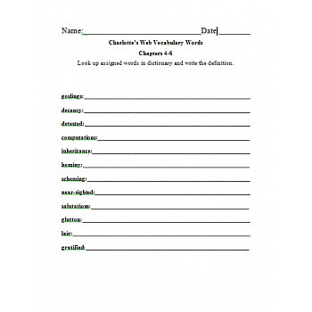 Third Grade Charlotte s Web Dictionary Look Up Worksheet