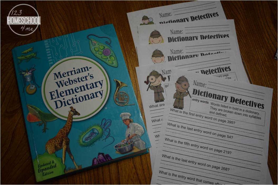 dictionary worksheets for kids