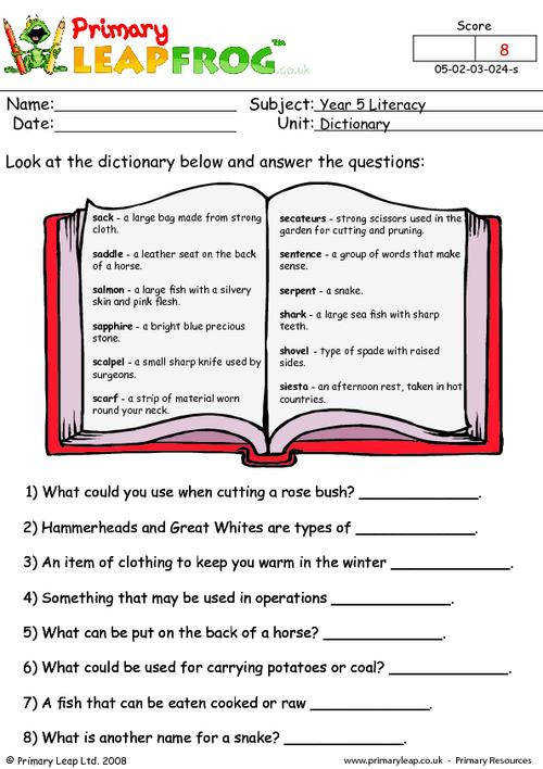 PrimaryLeap Dictionary work 4 Worksheet