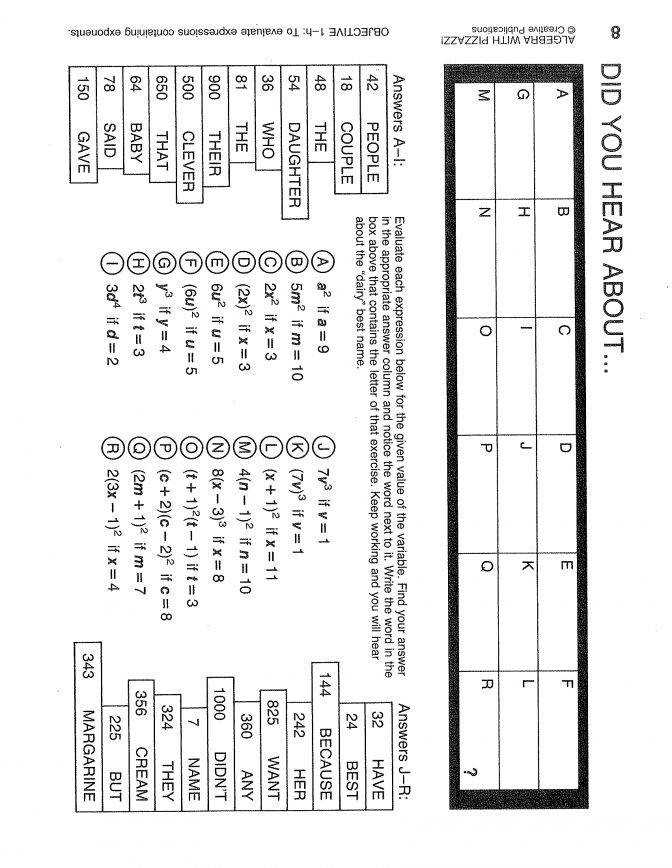 Find A Match Math Worksheet Pre Algebra With Pizzazz Answers Bb 23 Workshee Find A Match